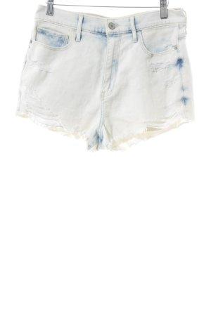Abercrombie & Fitch Pantalón corto blanco puro-azul estilo relajado