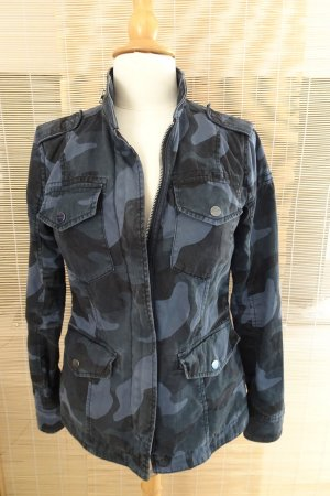Abercrombie & Fitch Military Jacket dark blue-anthracite cotton