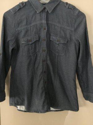Abercrombie & Fitch Jeans blouse staalblauw Katoen