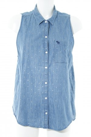 Abercrombie & Fitch Jeansbluse stahlblau Punktemuster