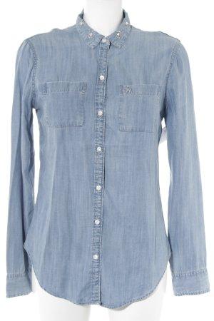 Abercrombie & Fitch Chemise en jean bleu azur-blanc moucheté Broderie de logo