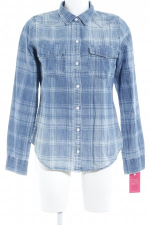 Abercrombie & Fitch Denim Shirt steel blue-pale blue check pattern casual look