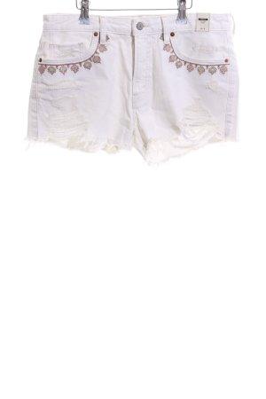 Abercrombie & Fitch Pantalón corto de tela vaquera blanco puro-color bronce