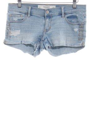 Abercrombie & Fitch Jeansshorts blassblau Destroy-Optik