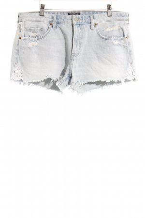 Abercrombie & Fitch Jeansshorts hellblau-weiß Casual-Look
