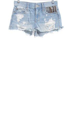 Abercrombie & Fitch Jeansshorts himmelblau-weiß Biker-Look