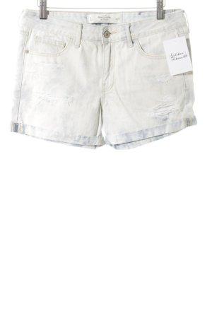 Abercrombie & Fitch Short en jean blanc-bleu pâle style urbain