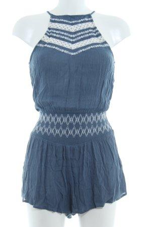Abercrombie & Fitch Jumpsuit stahlblau-weiß Zackenmuster Boho-Look