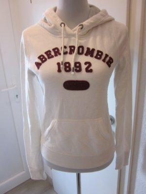 Abercrombie & Fitch Maglione con cappuccio bianco-carminio