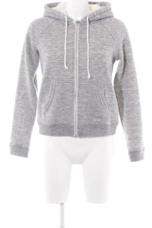 Abercrombie & Fitch Veste à capuche gris clair-blanc cassé style décontracté