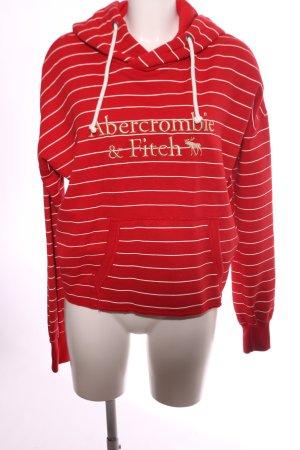 Abercrombie & Fitch Maglione con cappuccio rosso-bianco caratteri stampati