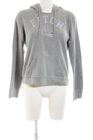 Abercrombie & Fitch Maglione con cappuccio grigio chiaro puntinato stile casual