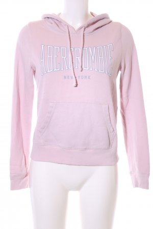 Abercrombie & Fitch Hooded Sweater pink-white printed lettering athletic style