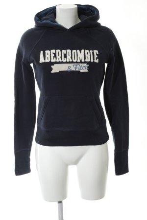 Abercrombie & Fitch Pull à capuche noir-blanc style décontracté