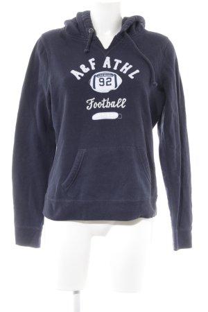 Abercrombie & Fitch Kapuzenpullover dunkelblau Schriftzug gestickt Casual-Look