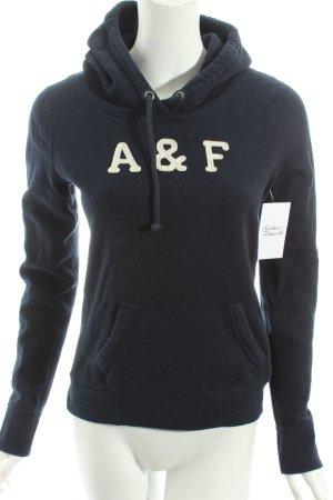 Abercrombie & Fitch Kapuzenpullover dunkelblau-wollweiß Schriftzug gestickt
