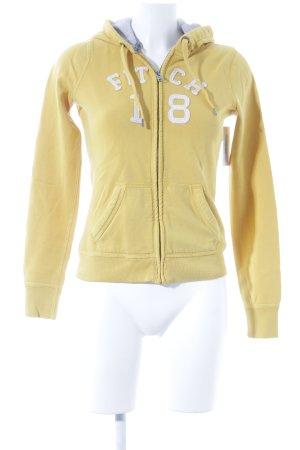 Abercrombie & Fitch Jersey con capucha amarillo oscuro-blanco
