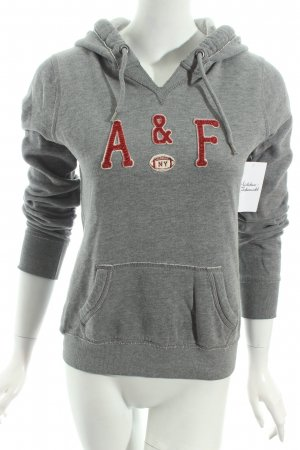 Abercrombie & Fitch Kapuzenpullover grau-dunkelrot Schriftzug gestickt