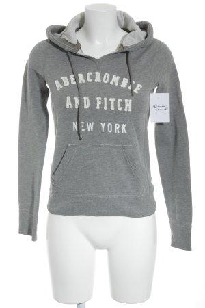Abercrombie & Fitch Kapuzenpullover grau-weiß Schriftzug gestickt Casual-Look