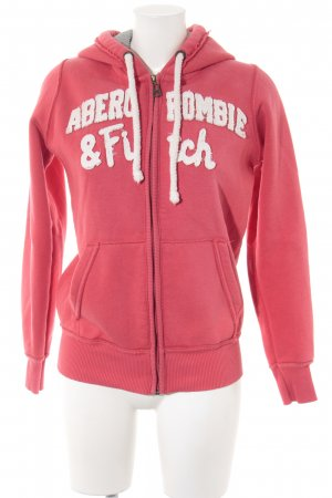Abercrombie & Fitch Hooded Sweater bright red-natural white athletic style