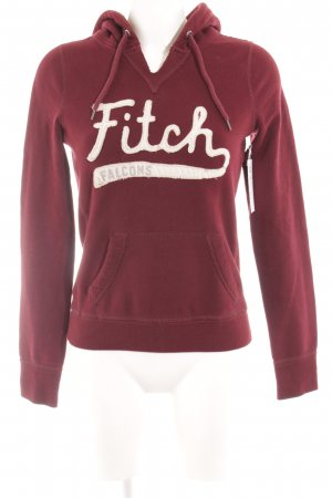 Abercrombie & Fitch Hooded Sweater carmine-natural white embroidered lettering