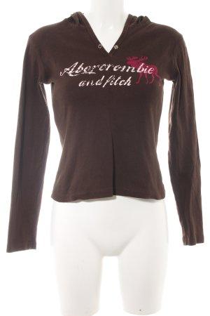 Abercrombie & Fitch Camicia con cappuccio marrone scuro stampa stile casual