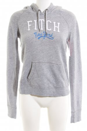 Abercrombie & Fitch Hooded Sweatshirt light grey printed lettering casual look