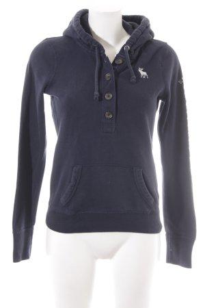 Abercrombie & Fitch Felpa con cappuccio blu scuro-bianco stile casual
