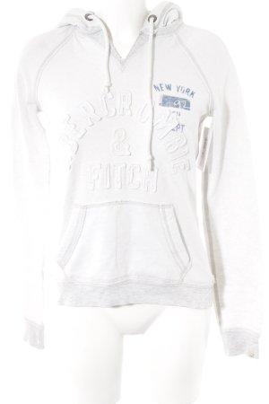 Abercrombie & Fitch Kapuzensweatshirt weiß-hellgrau Schriftzug gestickt