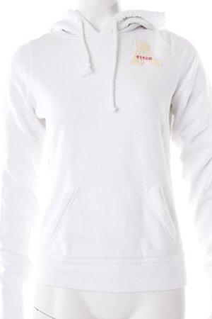 Abercrombie & Fitch Kapuzensweatshirt weiß Logo-Applikation