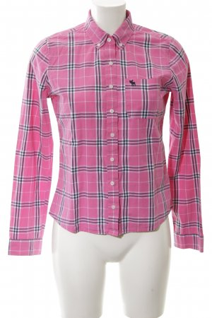 Abercrombie & Fitch Checked Blouse pink-black check pattern simple style