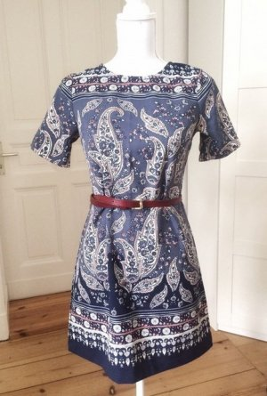 Abercrombie & Fitch Kleid Paisley Muster blau Navy marineblau dunkelblau bunt Sommer edel XS 34