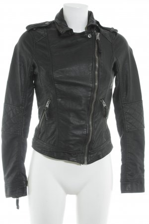 Abercrombie & Fitch Faux Leather Jacket black biker look