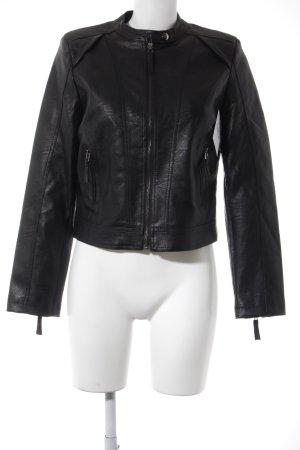 Abercrombie & Fitch Kunstlederjacke schwarz Biker-Look