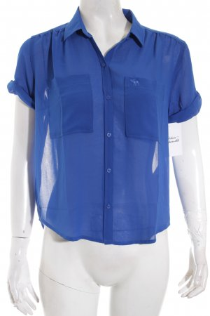 Abercrombie & Fitch Kurzarm-Bluse blau Casual-Look