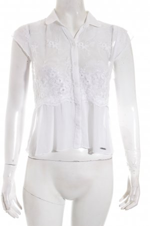 Abercrombie & Fitch Kurzarm-Bluse weiß Spitzen-Optik