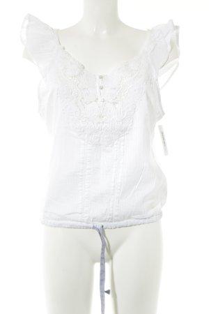 Abercrombie & Fitch Kurzarm-Bluse weiß Streifenmuster Bänderverzierung