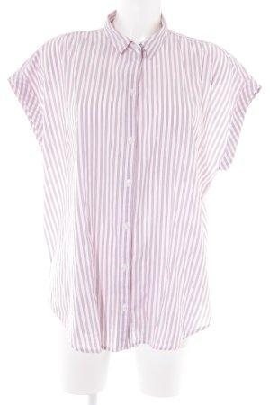 Abercrombie & Fitch Kurzarmhemd weiß-purpur Streifenmuster Casual-Look