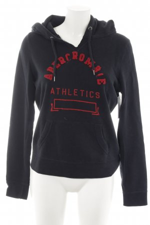 Abercrombie & Fitch Jersey de manga corta negro-rojo ladrillo letras bordadas