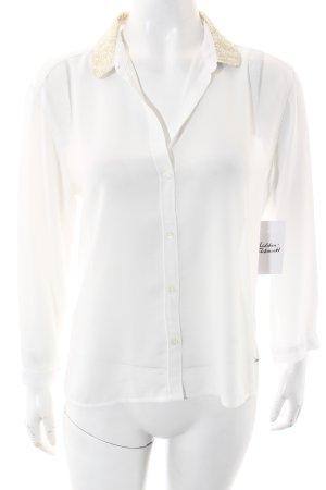 Abercrombie & Fitch Langarm-Bluse weiß-goldfarben Elegant