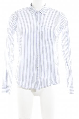 Abercrombie & Fitch Langarm-Bluse weiß-graublau Streifenmuster Casual-Look