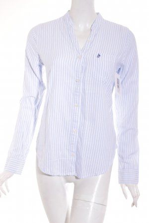 Abercrombie & Fitch Langarm-Bluse weiß-hellblau Streifenmuster Casual-Look