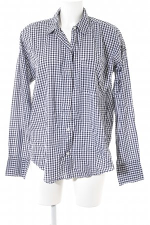 Abercrombie & Fitch Long Sleeve Shirt blue-white check pattern business style