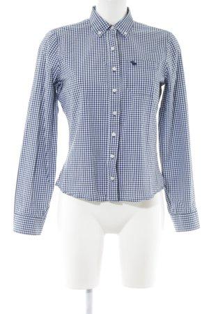 Abercrombie & Fitch Langarmhemd blau-weiß Steppmuster klassischer Stil