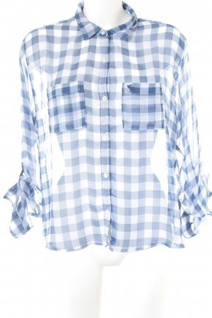 Abercrombie & Fitch Langarmhemd stahlblau-weiß Vichykaromuster