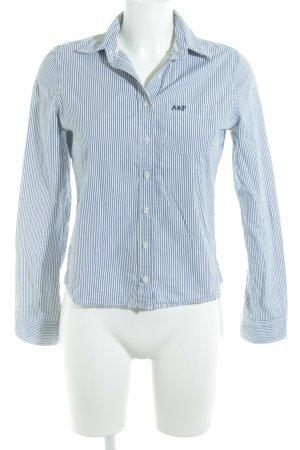 Abercrombie & Fitch Langarmhemd weiß-dunkelblau Streifenmuster Logostickerei
