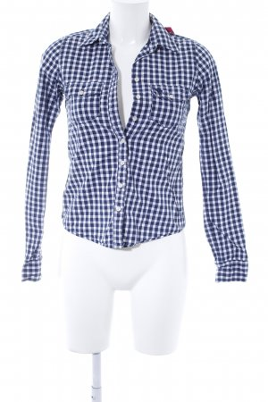 Abercrombie & Fitch Langarmhemd weiß-dunkelblau Vichykaromuster Casual-Look