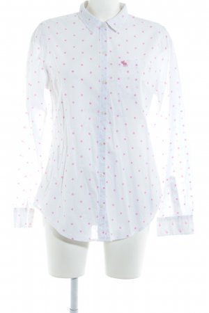 Abercrombie & Fitch Long Sleeve Shirt white-pink spot pattern business style