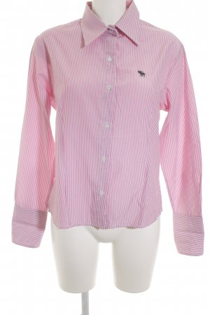 Abercrombie & Fitch Langarmhemd weiß-rosa Streifenmuster Casual-Look