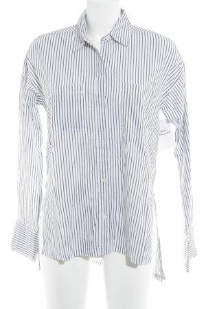 Abercrombie & Fitch Langarmhemd weiß-schwarz Streifenmuster Casual-Look